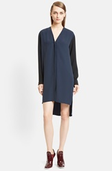 Cedric Charlier Two Tone Crepe High Low Shirtdress Fantasy Blue