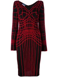 Thierry Mugler Vintage Web Embroidered Fitted Dress Black