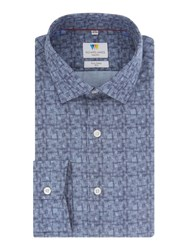 Richard James Blue Linear Fan Print Shirt