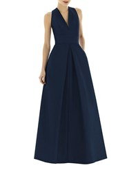 Alfred Sung V Neck Sleeveless A Line Gown W Inverted Pleat Midnight