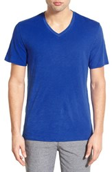 The Rail Men's Slub Cotton V Neck T Shirt Blue Surf