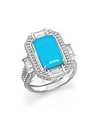 Judith Ripka Sterling Silver Doublet Baguette Ring Turquoise Silver