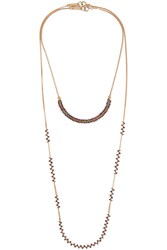 Isabel Marant Set Of Two Gold Tone Beaded Necklaces Red