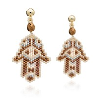 Azuni London Hamsa Beadwork Earrings In Desert