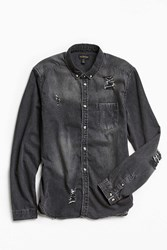 Urban Outfitters Uo Stevens Destructed Denim Button Down Shirt Black