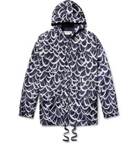 Marni Printed Shell Hooded Jacket Navy