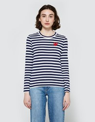 Comme Des Garcons Play Striped T Shirt In Navy Navy White
