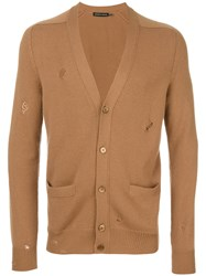 Alexander Mcqueen Distressed Cardigan Men Cashmere L Nude Neutrals