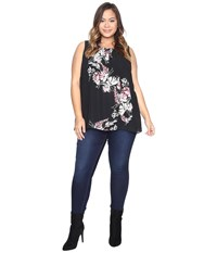Vince Camuto Plus Size Sleeveless Winter Gerland Blouse Rich Black Women's Clothing