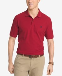 Izod Men's Pique Performance Heathered Polo Medium Red
