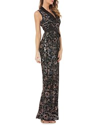 Kay Unger New York Stretch Velvet Gown W Sequins And Satin Black Multi