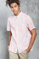 Forever 21 Pineapple Print Shirt Coral Blue