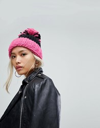 a297249cc3c Helene Berman Turn Up Beanie With Oversized Pom Pom In Pink Pink