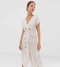 Glamorous Petite Belted Midi Dress With Button Front In Natural Stripe White