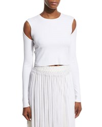 Opening Ceremony Long Sleeve Jersey Cold Shoulder Crop Top White