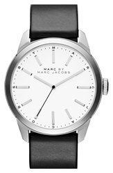 Marc By Marc Jacobs 'Dillon' Leather Strap Watch 44Mm White Black