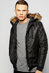 Boohoo Zip Faux Fur Hooded Parka Black