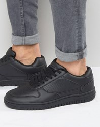 Pull And Bear Pullandbear Faux Leather Trainers In Black Black