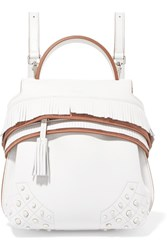 Tod's Wave Fringed Leather Backpack White