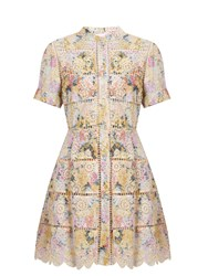 Zimmermann Valour Hydrangea Print Cotton Dress Pink Multi