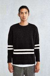 Feathers Striped Waffle Sweater Black And White