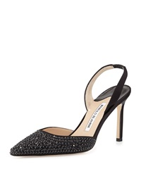 Manolo Blahnik Carolynejet Crystal Beaded Satin High Heel Halter Pump