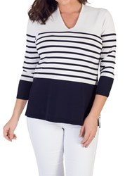 Chesca Stripe V Neck Jumper Ivory Navy