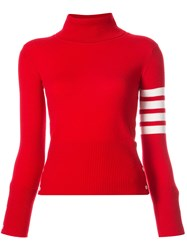 Thom Browne Turtle Neck With White 4 Bar Stripe In Red Cashmere Cashmere