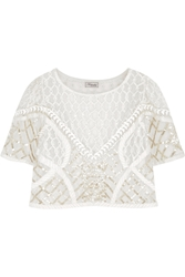 Temperley London Cropped Embroidered Tulle Top
