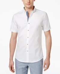 Bar Iii Men's Wear Me Out Slim Fit Stretch Easy Care Short Sleeve Dress Shirt Only At Macy's White Oxford