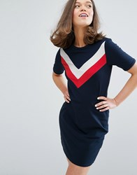 Monki Contrast Stripe T Shirt Dress Navy Multi