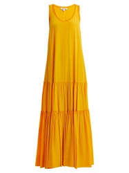 Elizabeth And James Hazel Scoop Neck Gathered Silk Dress Yellow