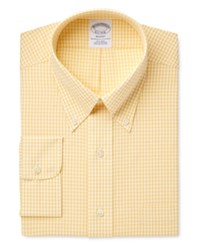 Brooks Brothers Men's Regent Fitted Non Iron Yellow Checked Dress Shirt