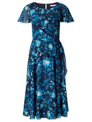 Jacques Vert Printed Floral Soft Tie Dress Multi Navy