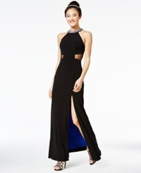 Sequin Hearts Juniors' Embellished Contrast Lined Gown Black Royal