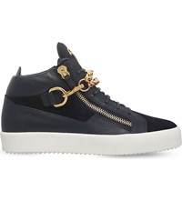 Giuseppe Zanotti Chain Mid Top Leather Trainers Blue