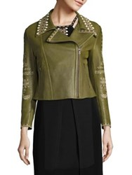 Yigal Azrouel Embroidered Leather Moto Jacket Lime