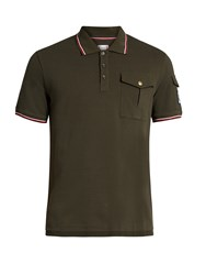 Moncler Gamme Bleu Contrast Stripe Cotton Pique Polo Shirt Green