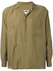 H Beauty And Youth Button Up Shirt Brown
