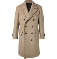 Tom Ford Double Breasted Felted Wool Blend Coat Beige