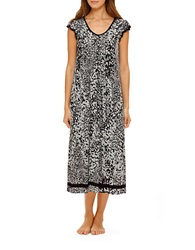 Ellen Tracy Yours To Love Scallop Sleeved Nightgown Black Print