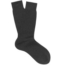 Berluti Ribbed Cotton Socks Charcoal