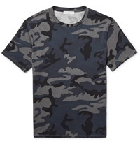 Sandro Slim Fit Camouflage Print Cotton Jersey T Shirt Storm Blue