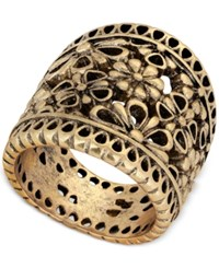 Lucky Brand Gold Tone Floral Openwork Statement Ring