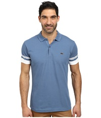 Lacoste Cotton Pique Semi Fancy Slim Fit Made In France Polo Admiral Blue White Men's Short Sleeve Pullover