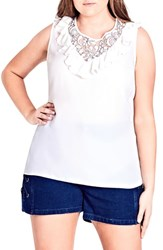 City Chic Plus Size Lace Romance Top Ivory