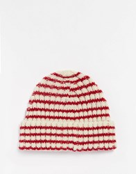 Asos Striped Fisherman Beanie Red