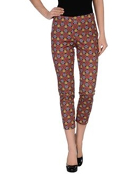 Peacock Blue Casual Pants Brick Red