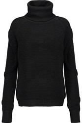 Haute Hippie Ribbed Merino Wool Turtleneck Sweater Black