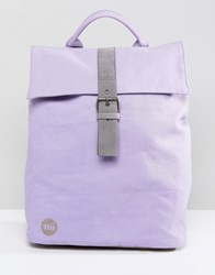 Mi Pac Canvas Fold Top Backpack In Lilac Purple